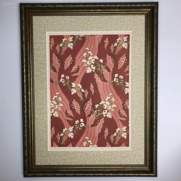 大幅法國 19世紀彩色石版畫 裝飾藝術 十七世紀熱那亞面料紋樣 暗紅細橫紋綴白花 étoffe de Gênes