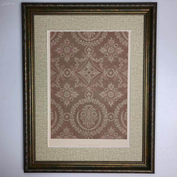 大幅法國 19世紀彩色石版畫 裝飾藝術 十八世紀法國布料紋飾 斜細格底 團花紋 直棱花紋 étoffe Francaise