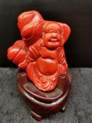 【佛教佛像】 随型雕弥勒佛珊胡摆件,珊胡根雕刻,随型雕刻简单大气,灯光原因,图片颜色泛黄,实物颜色较红润,详可见细图,底价拍结缘