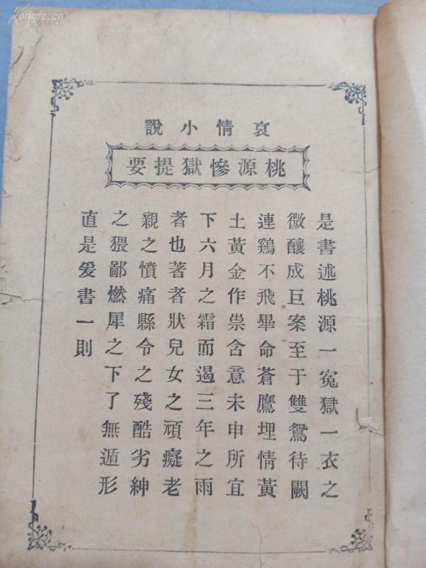 (书4)民国 痛史著 哀情小说《桃源惨狱》非常稀少,缺前封皮,大64开