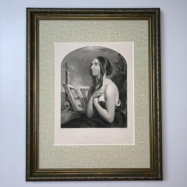 1854年 弗農畫廊藝術精品版畫 懺悔者 The Penitent