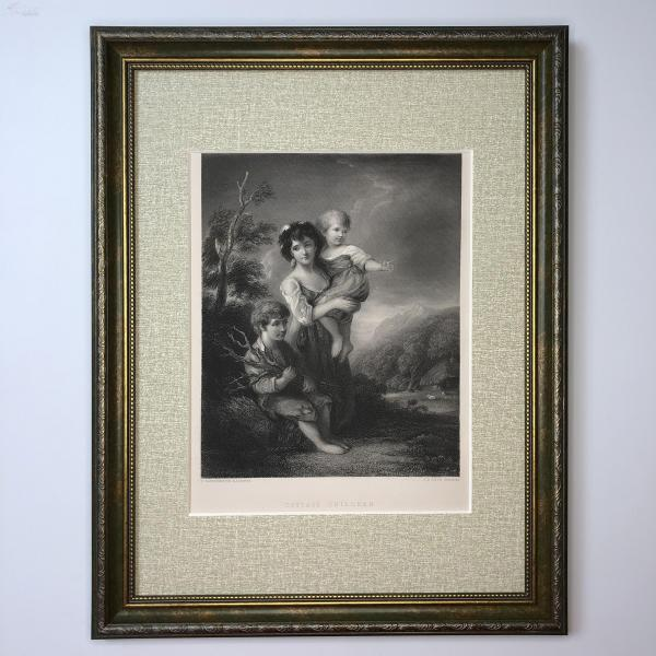 1854年 弗農畫廊藝術精品版畫 村舍與孩童 Cottage Children