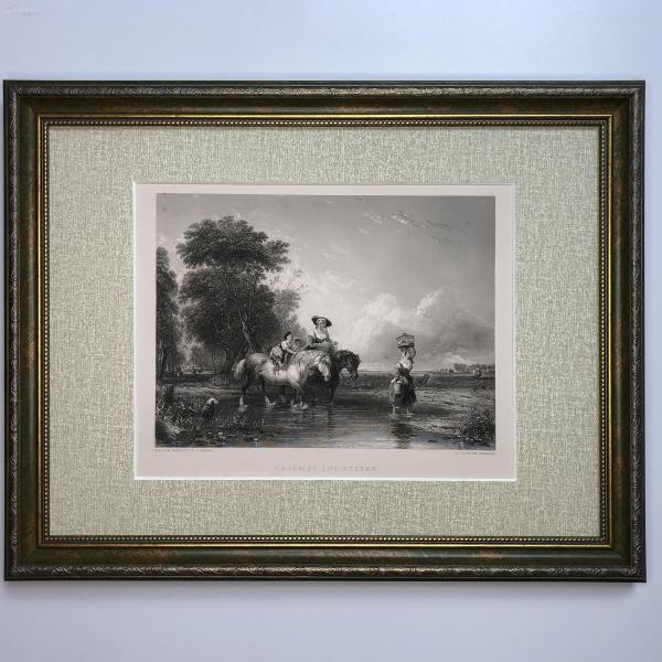 1854年 弗農畫廊藝術精品版畫 穿過小溪流 Crossing The Stream