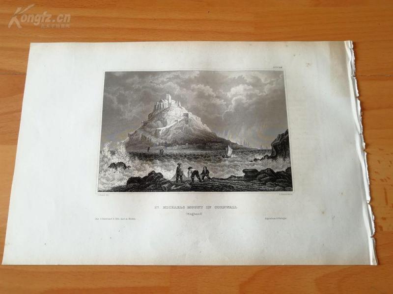 19世纪钢版画《圣迈克尔山,康沃尔郡,英格兰》(st.michaels mount  in cornwall)--纸张28*18.5厘米