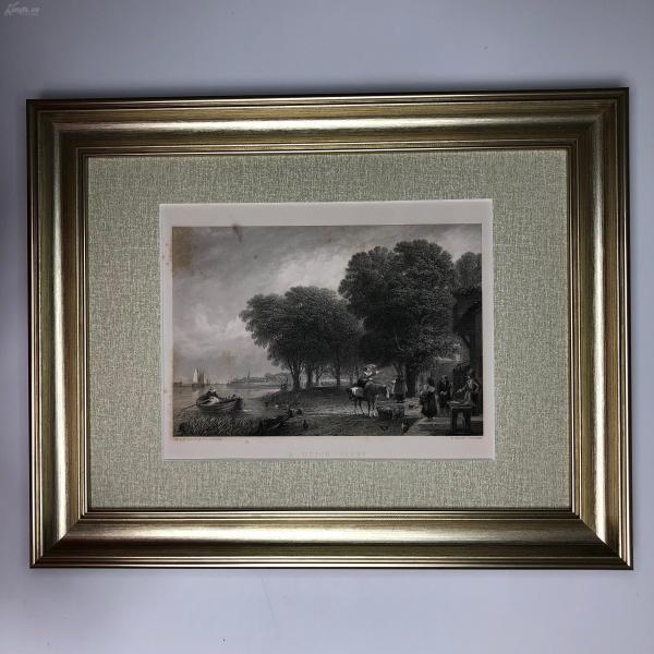 1854年 弗農畫廊藝術精品版畫 A Dutch Ferry 荷蘭渡口