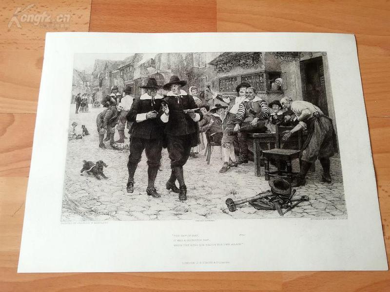 19世纪蚀刻《5月29日》(the 29th of may)-1660年5月29日查理二世在英国复辟的背景--纸张32.3*23.5厘米