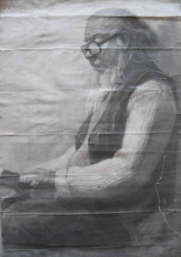 著名画家【杨*澄】大幅精品素描《读书的老人》 尺寸:73X50厘米