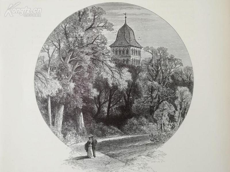 1878年木刻《勃艮第,吕贝克,德国》(the burgthor ,Lübeck)---选自《如画的欧罗巴》,纸张31.5*24厘米