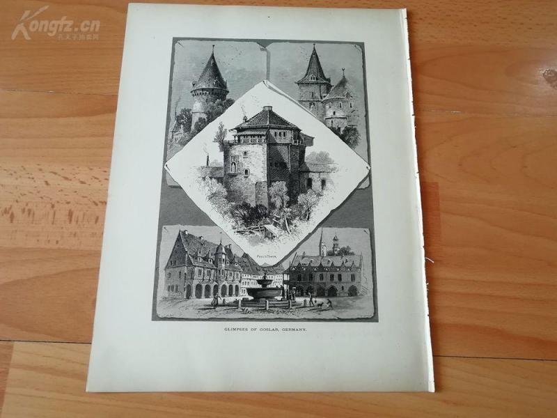 1878年木刻《戈斯拉尔的一瞥,德国》(glimpses of goslar ,germany)---选自《如画的欧罗巴》,纸张31.5*24厘米