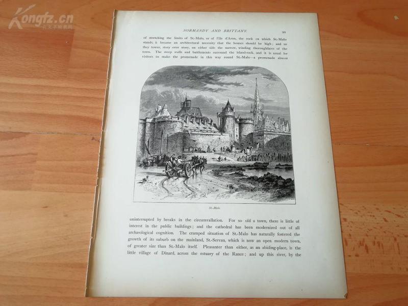 1878年木刻《圣玛诺,法国诺曼底》(st.malo)---选自《如画的欧罗巴》,纸张31.5*24厘米