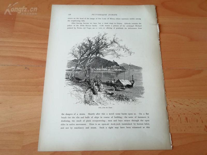 1878年木刻《诺利的海岸,意大利》(noli,from the coast)---选自《如画的欧罗巴》,纸张31.5*24厘米