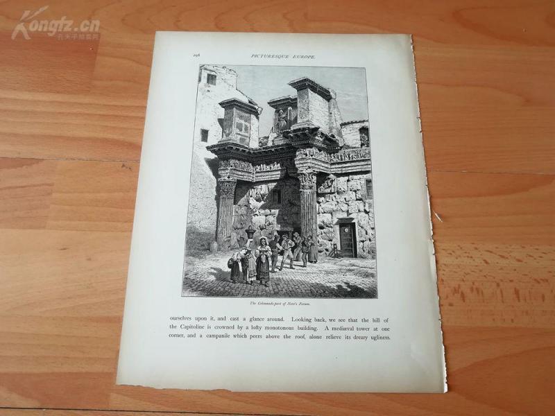 1878年木刻《尼禄论坛门廊,意大利》(the colonnade part of nero's forum)---选自《如画的欧罗巴》,纸张31.5*24厘米