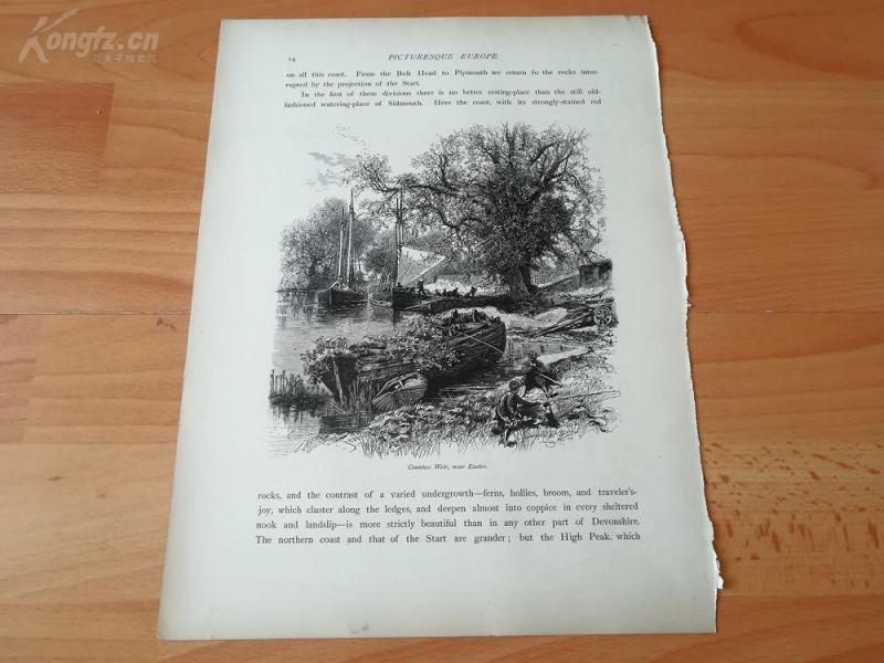 1878年木刻《埃克塞特,英国》(countess weir,near exeter)---选自《如画的欧罗巴》,纸张31.5*24厘米