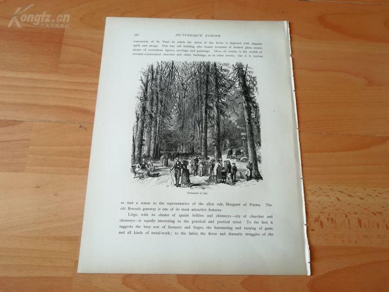 1878年木刻《矿泉疗养地,比利时》(promenade at spa)---选自《如画的欧罗巴》,纸张31.5*24厘米