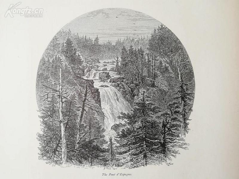 1878年木刻《西班牙桥地区,法国》(the pont d'espagne)---选自《如画的欧罗巴》,纸张31.5*24厘米