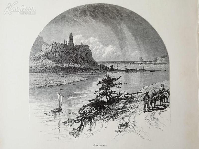 1878年木刻《富恩特拉比亚,西班牙》(Fuenterrabia)---选自《如画的欧罗巴》,纸张31.5*24厘米