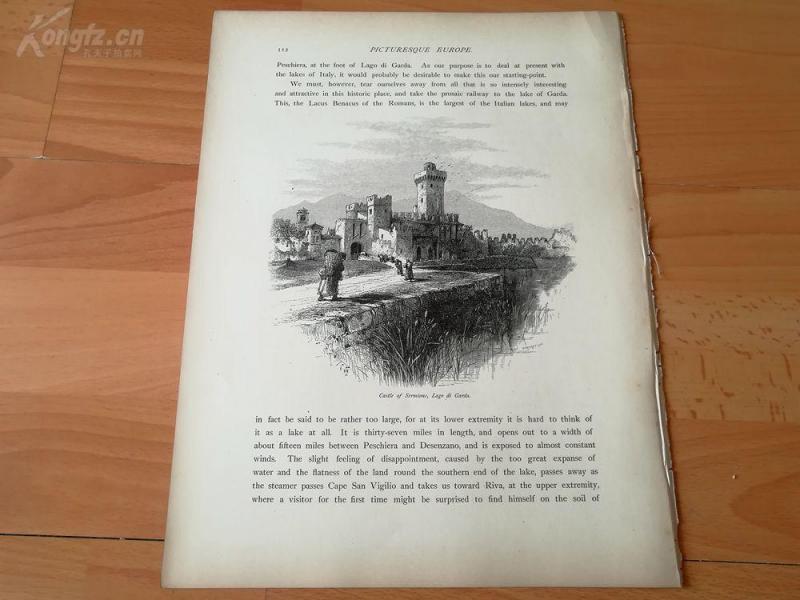1878年木刻《塞米奥内城堡,加尔达湖,意大利》(castle of sermione,lago di garda)---选自《如画的欧罗巴》,纸张31.5*24厘米