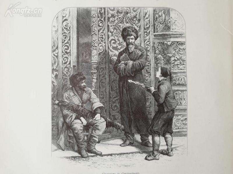 1878年木刻《君士坦丁堡的切尔克斯人》(circassians in constantinoplel)---选自《如画的欧罗巴》,31.5*24厘米--精美,漂亮,高质量