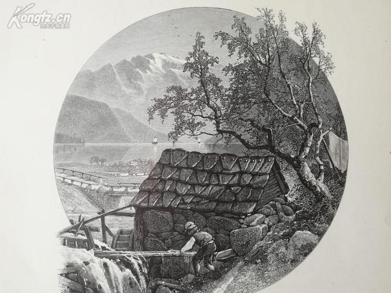 1878年木刻《乌尔维克的老磨坊,哈当厄峡湾,挪威》(old mill at ulvick,hardanger fjord)---选自《如画的欧罗巴》,31.5*24厘米--精美,漂亮,高质量