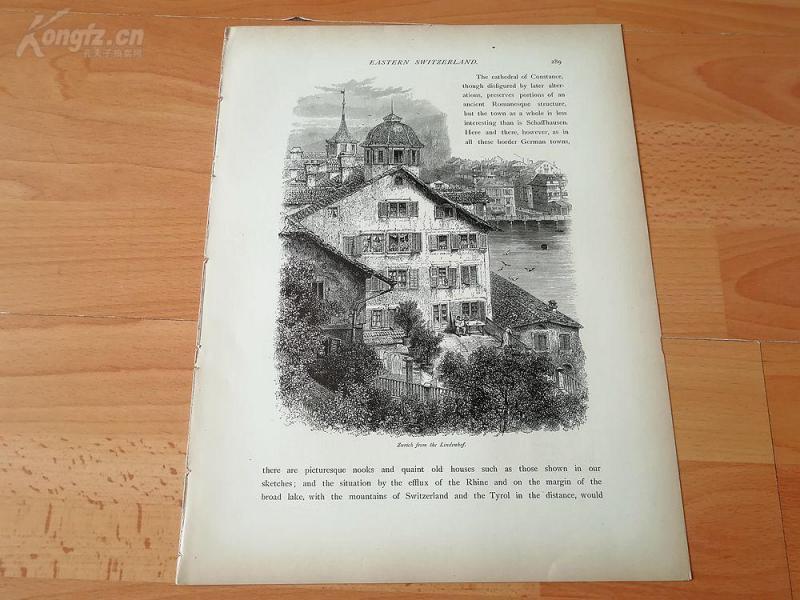1878年木刻《苏黎世林登霍夫,瑞士》(zurich from the lindenhof)---选自《如画的欧罗巴》,31.5*24厘米--精美,漂亮,高质量