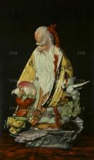 1982年《祝君长寿》 老年画 一张(尺寸:78*36cm)HXTX301257