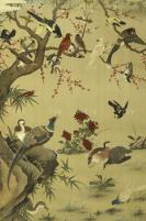 1957年 上海画片出版社一版一印 上官百达作 《寒梅聚禽图》老宣传画一张(尺寸:77*53cm)HXTX301258