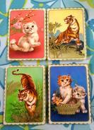 1套4枚:绘画版猛虎、猫咪