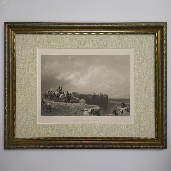 1854年 弗農畫廊藝術精品版畫 Waiting For The Boats 等待渡船 畫框45.5*35.5cm