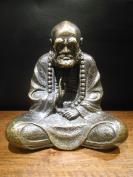 【佛教佛像】达摩祖师铜塑像,铸造精美大气,包浆油润,沙胚铜铸内空,故内有少许碎沙,重999.1克,底价拍