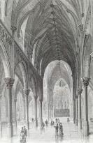 1878年木刻《斯圖爾特紀念大教堂內部》(view of interior of the stewart memorial cathedral)---選自當年藝術日志--紙張32*24厘米