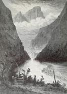 1878年木刻《薄霧飄過我們的群山》(sanoe,looking down the valley)---選自當年藝術日志--紙張32*24厘米
