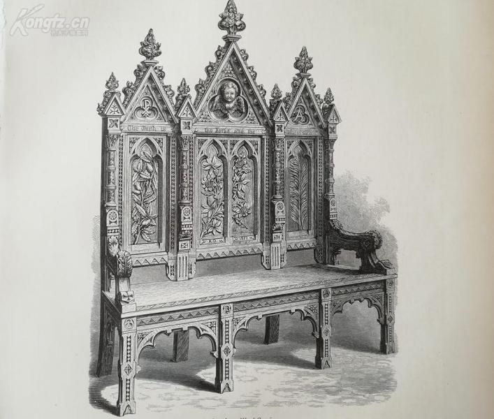 1878年木刻《美洲木雕》(american  wood-carving)---選自當年藝術日志--紙張32*24厘米