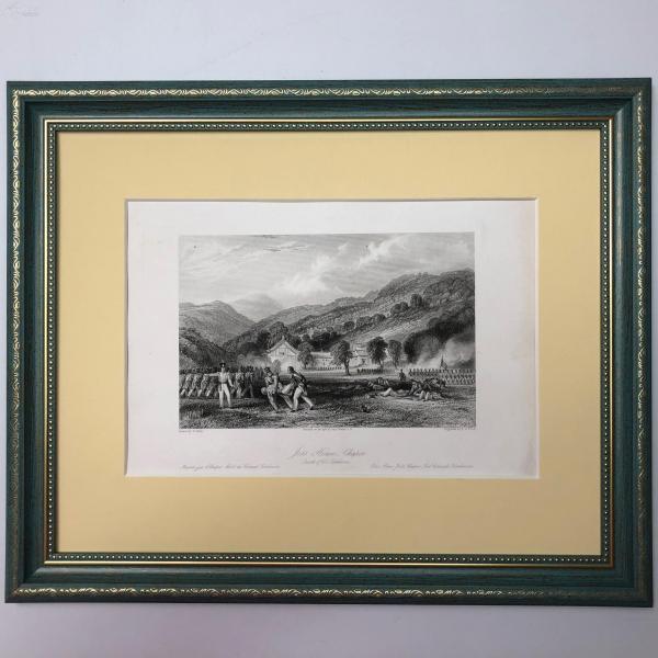 1843年銅版畫 阿羅姆繪中華帝國 Joss House, Chapoo. Death of Col. Tomlinson
