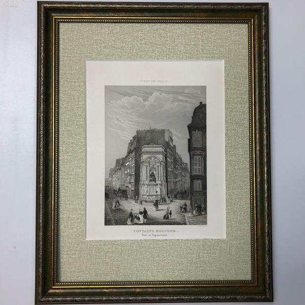 1860年大幅《巴黎景觀》鋼版畫 莫里哀噴泉 Fontaine Molière