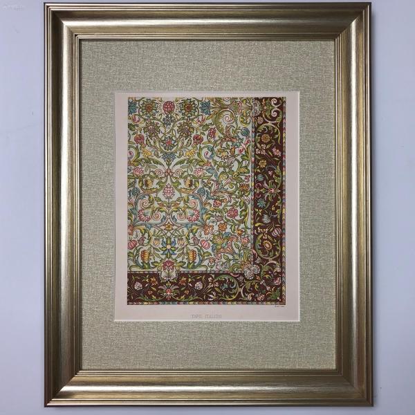 1890年 超大幅 裝飾藝術彩色石版畫 十七世紀意大利地毯 Tapis Italien