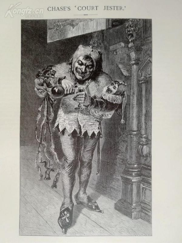 1878年木刻《宮廷小丑》(court jester)---選自當年藝術日志--紙張32*24厘米