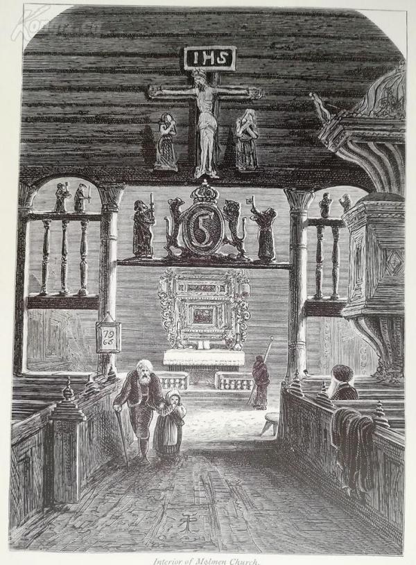 1878年木刻《教堂內部》(interior of molmen church)---選自當年藝術日志--紙張32*24厘米