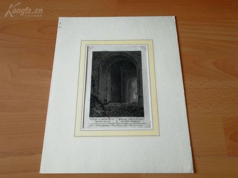 1814年銅版畫《海德堡城堡的門廊入口處》(ANSICHT VOM AUSGANGE AUS DER VORHALLE )---卡紙畫框---30*24厘米
