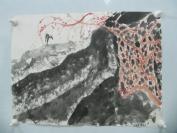 7-80年代名家画作   无款风景小鹿一幅 43/32厘米