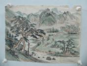 7-80年代名家画作 山水风景田园生活一幅 30/29厘米