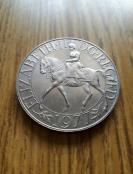 英國 1977年1克朗伊麗莎白女王登基25周年紀念幣 大幣37.5mm