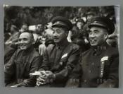 1952年 朱德、贺龙、邓小平在全军第一届体育运动大会开幕式上看台观看 照片一大张(尺寸:30.8*43.6cm)HXTX300606