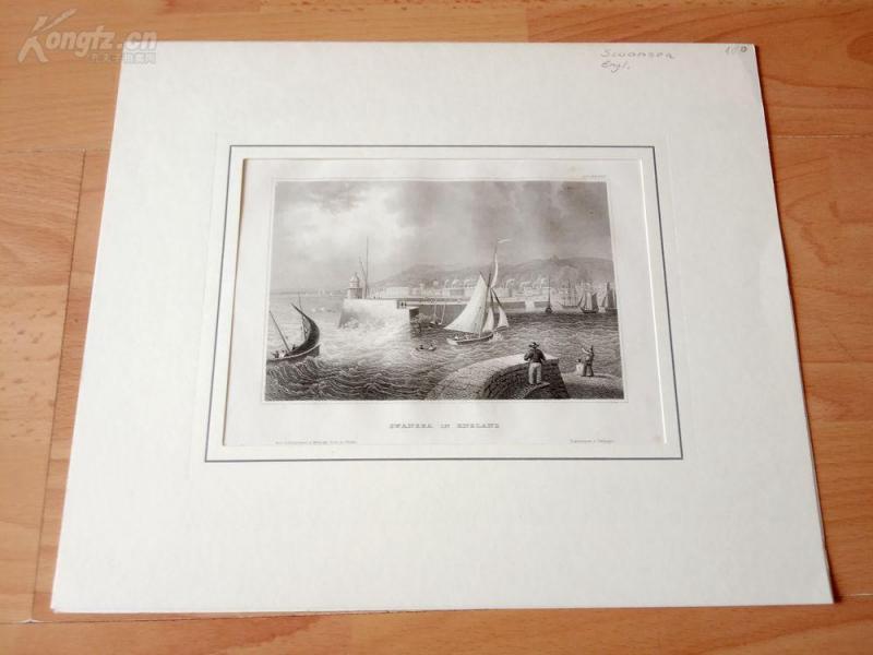 19世紀鋼版畫《斯旺西海灣,英格蘭》(SWANSEA IN ENGLAND)--卡紙畫框29*24.5厘米