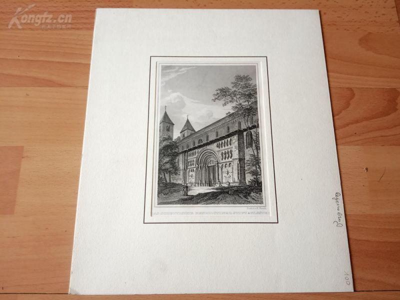 19世紀鋼版畫《本篤會蘇格蘭圣母修道院(天主教),維也納,奧地利》(DAS SCHOTTISCHE BENEDICTINER STIFT & KLOSTER)--卡紙畫框29*24.5厘米