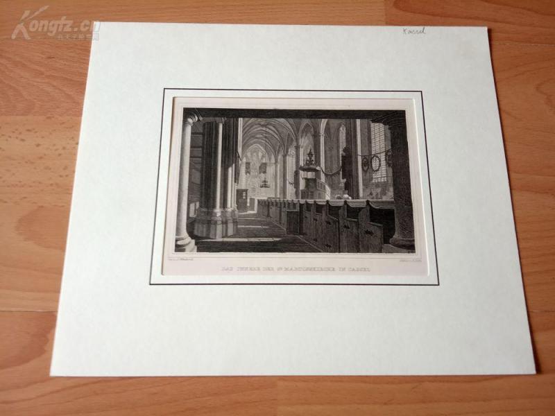 19世紀鋼版畫《圣馬丁大教堂,卡塞爾,黑森州,德國》(DAS JNNERE DER ST MARTINSKIRCHE IN CASSEL)--卡紙畫框29*24.5厘米