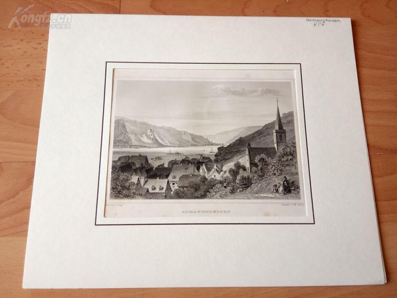 19世紀鋼版畫《萊茵河畔的阿斯曼斯豪森,德國》(ASMANNSHAUSEN)--卡紙畫框29*24.5厘米