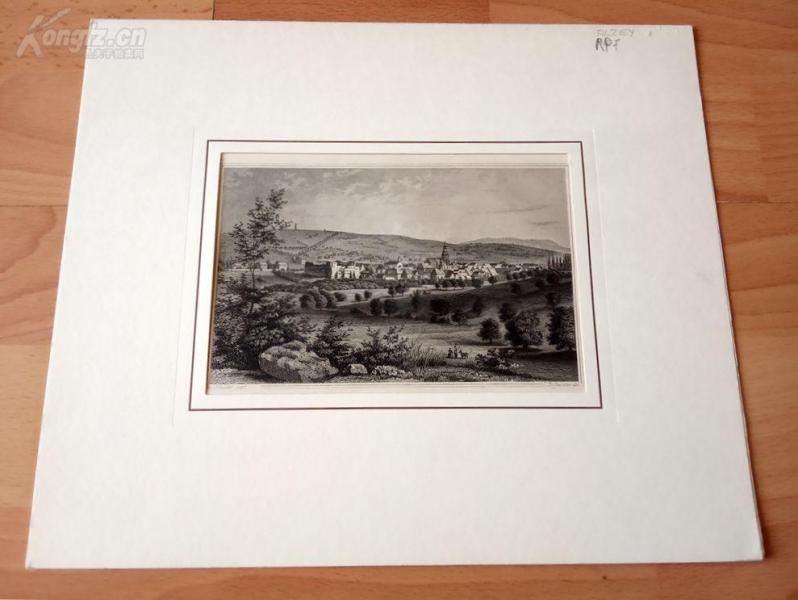 19世紀鋼版畫《萊茵谷地阿爾蔡小鎮,萊茵蘭州,德國》(ALZEY)--卡紙畫框29*24.5厘米