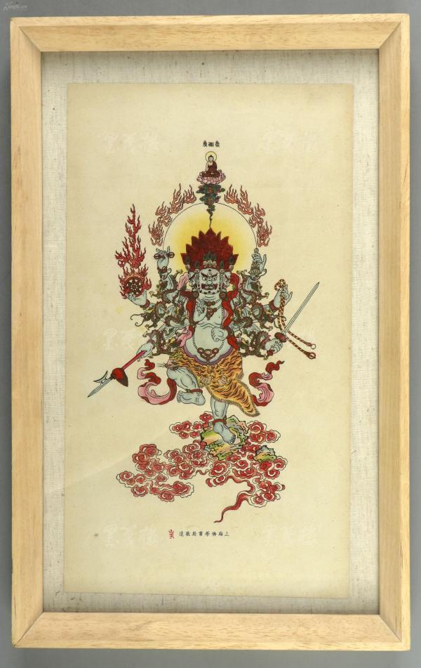 民国时期 上海佛学书局印造 《大黑天神》一幅,有精致镜框装裱 (裸尺寸:34.8*19.2cm) HXTX300629