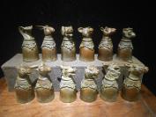 十二生肖铜酒杯一套,铜酒爵, 纯铜铸造,十二生肖头像,铸造精美大气,包浆老气,可实用、摆件收藏,底价拍