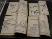 9922【超大开本 白纸木刻 刻印俱佳 技艺精湛】清木刻本版画《芥子园画传二集》,全四册, 刻印俱佳